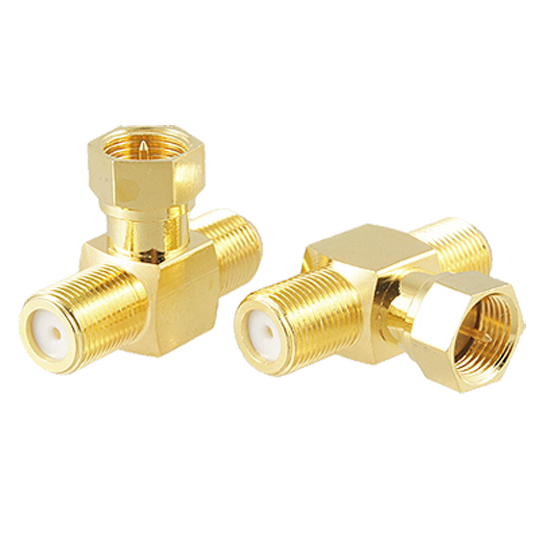 2 Pcs T shape F-Type F 1 Male to F 2 Female RF Adapter Connector Gold Tone Plated
