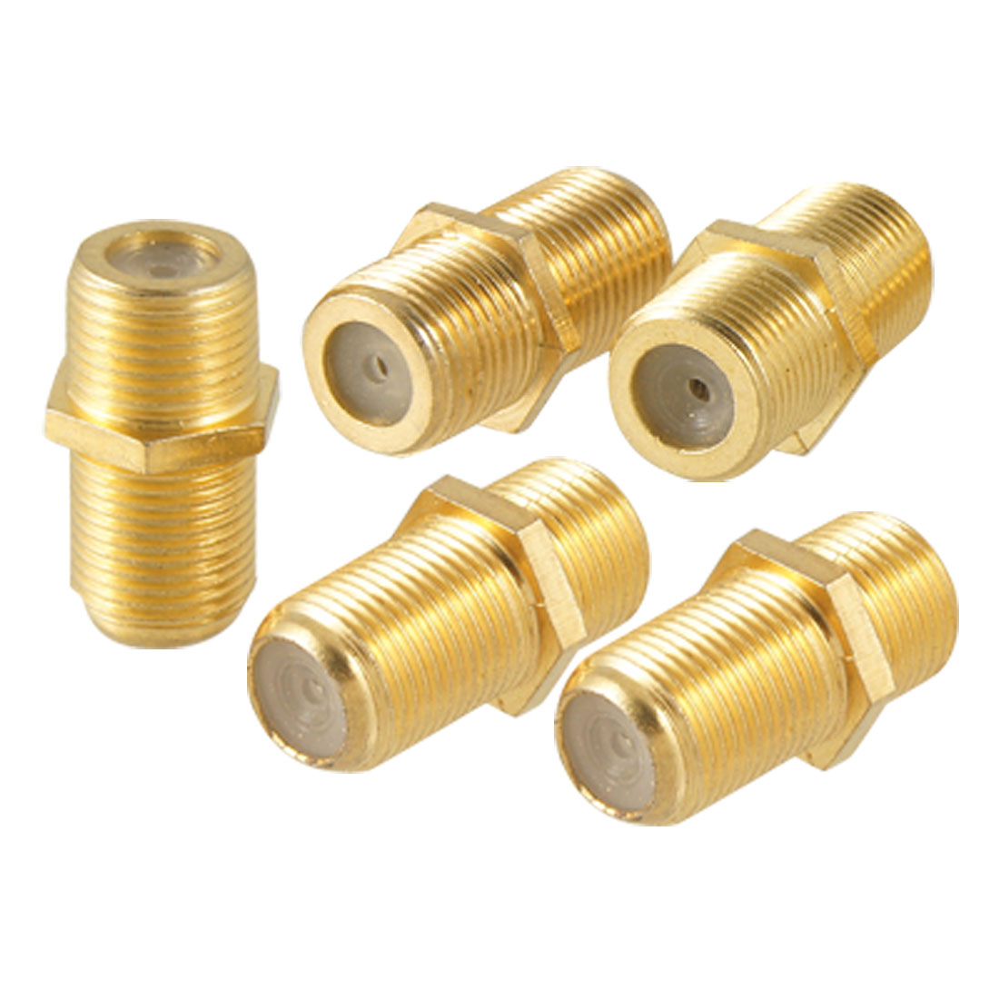 5 Pcs Gold Tone Plated F Type Female to Female Jack RF Adapter Connector