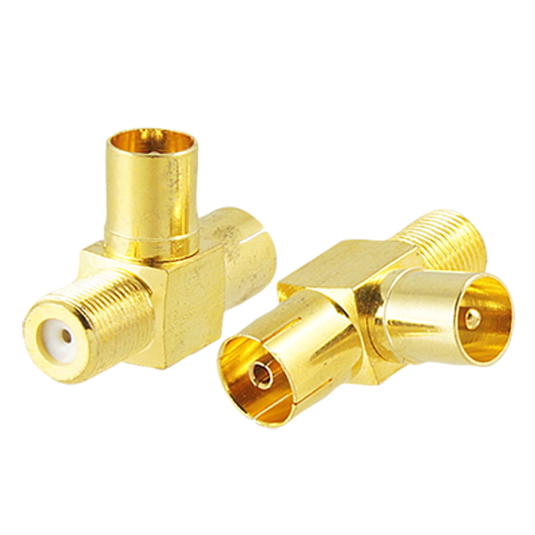 2pcs Gold Plated F Female to TV PAL Female Male RF Coaxial Connector Adapter