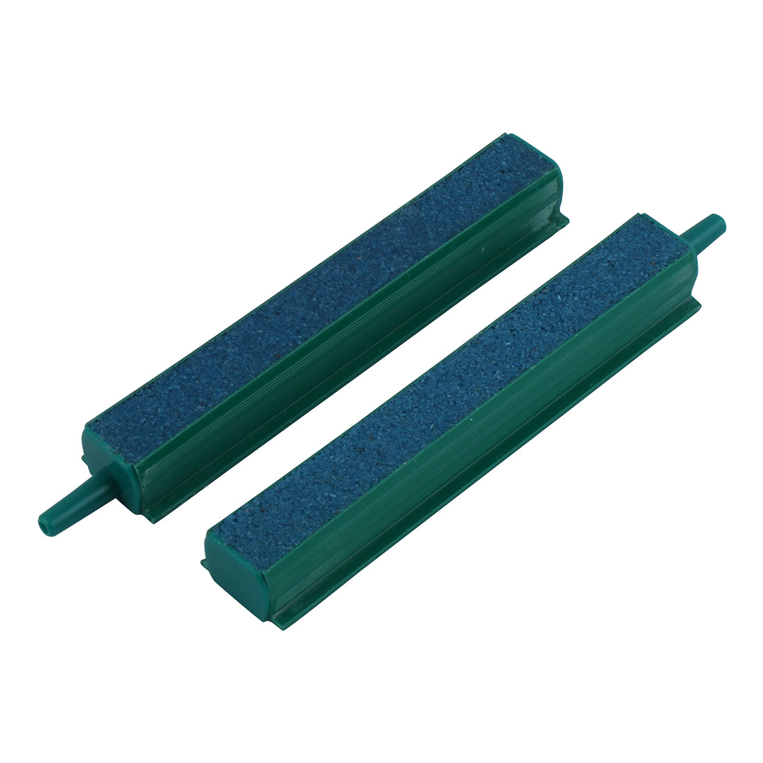 "2 Pcs Green Plastic End 4"" Blue Mineral Air Bubble Stone Bar for Aquarium"