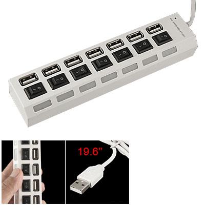 Blue LED Indicator High Speed USB 2.0 White 7 Ports Hub