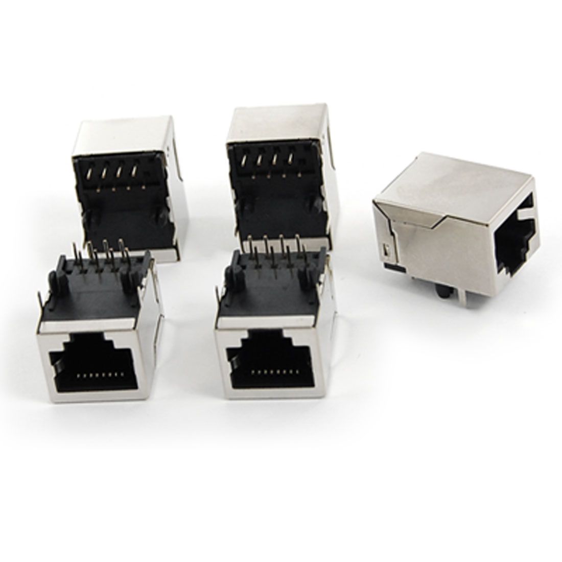 5 Pcs 59-8P Fully Shielded RJ45 Modular Jacks Network PCB Connectors
