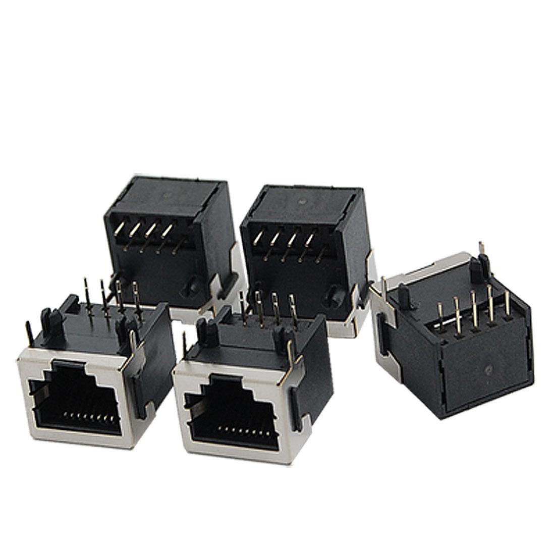 5 Pcs 56-8P8C Half Shielded 8 Round Pin Network Modular PCB Connectors