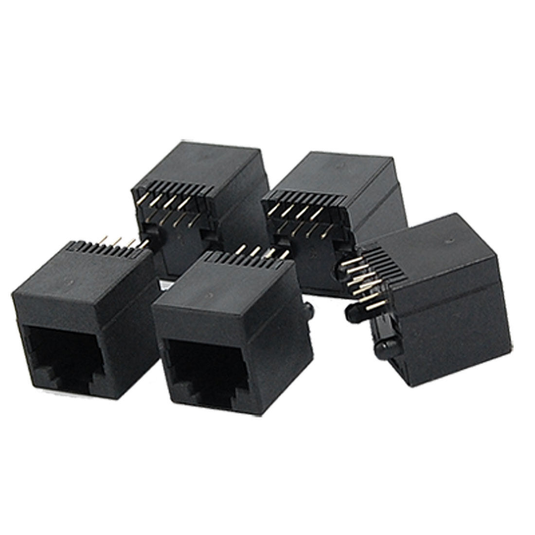 5224-8P8C Unshielded 8 Round Pin RJ45 Network PCB Connectors 5 Pcs