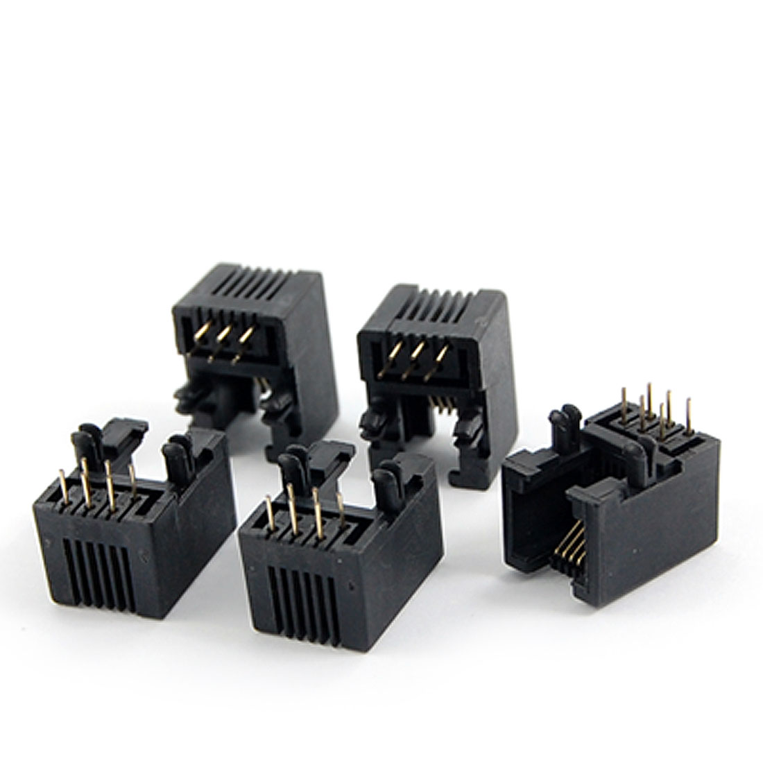5 Pcs 6P6C 6 Pin RJ11 Modular Connector Telephone PCB Jack Connectors