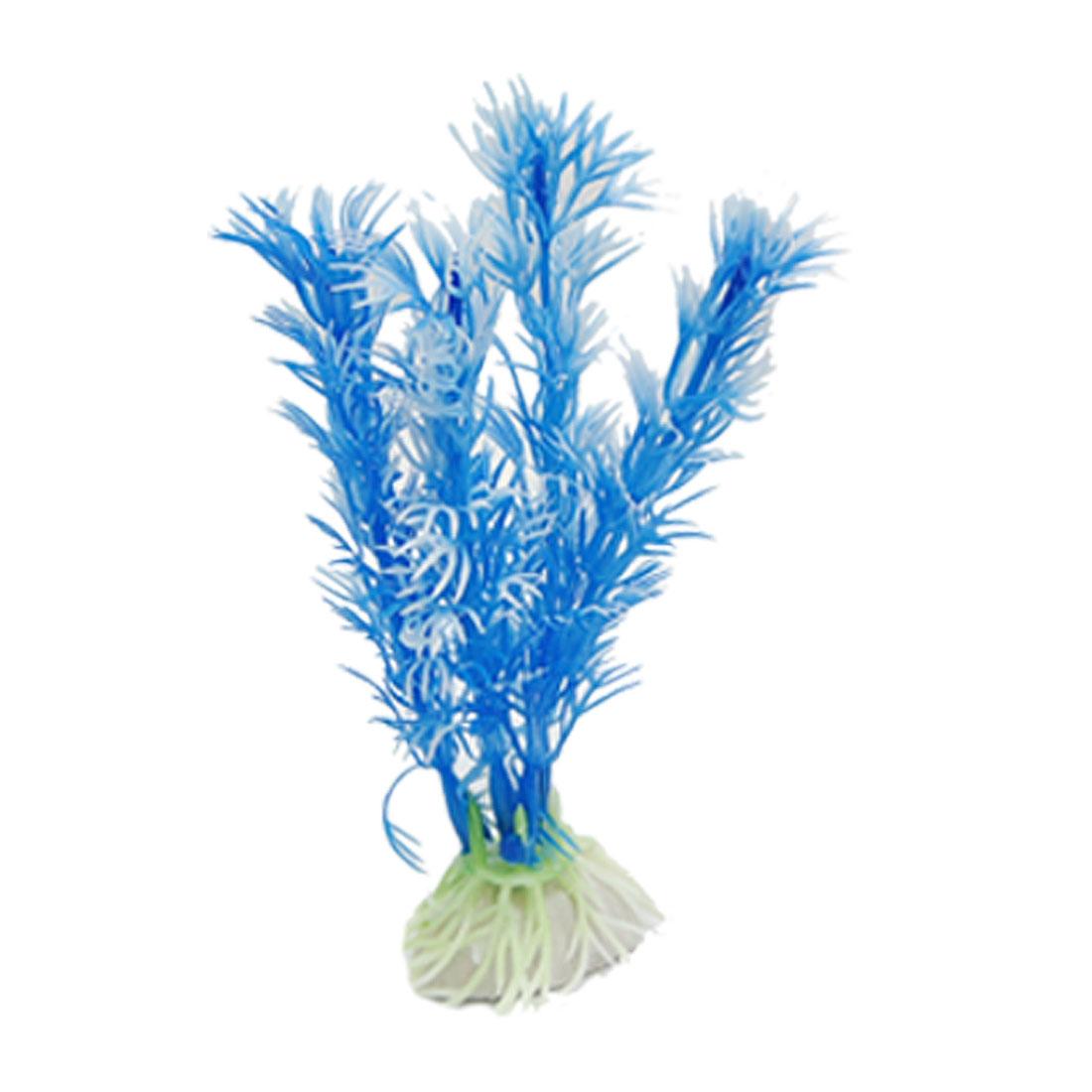 Oval Ceramic Based Artificial Sky Blue Water Grass Aquarium Decor 10 Pcs