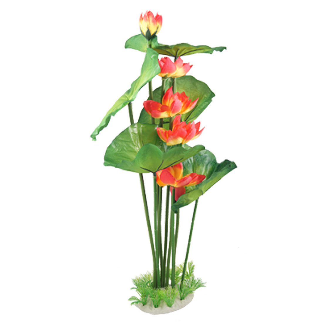 "21"" Height Green Leaf Red Yellow Lotus Flower Aquarium Plastic Plant"