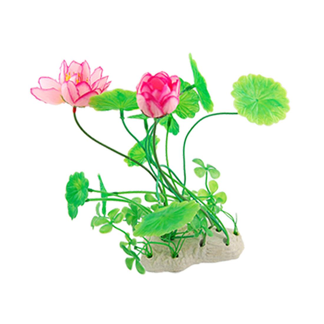 Aquarium Ornament Underwater Plastic Lotus Aquatic Plant Pink Green