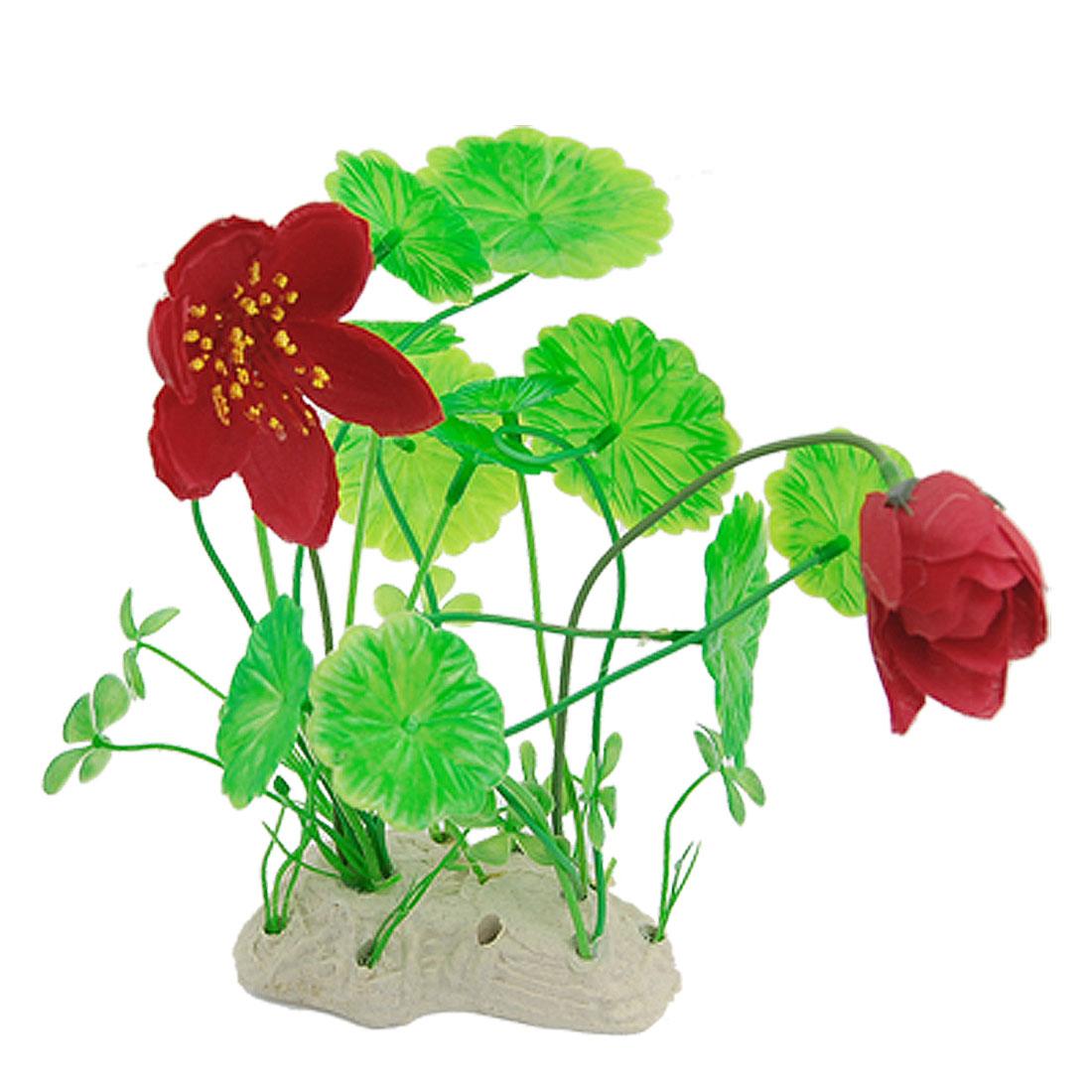 Manmade Red Green Underwater Lotus Flower Plant for Aquarium Decor