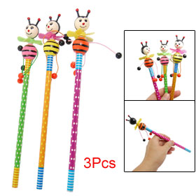 3 Pcs Colorful Wooden Cartoon Bee Decor Pencils Party Gifts