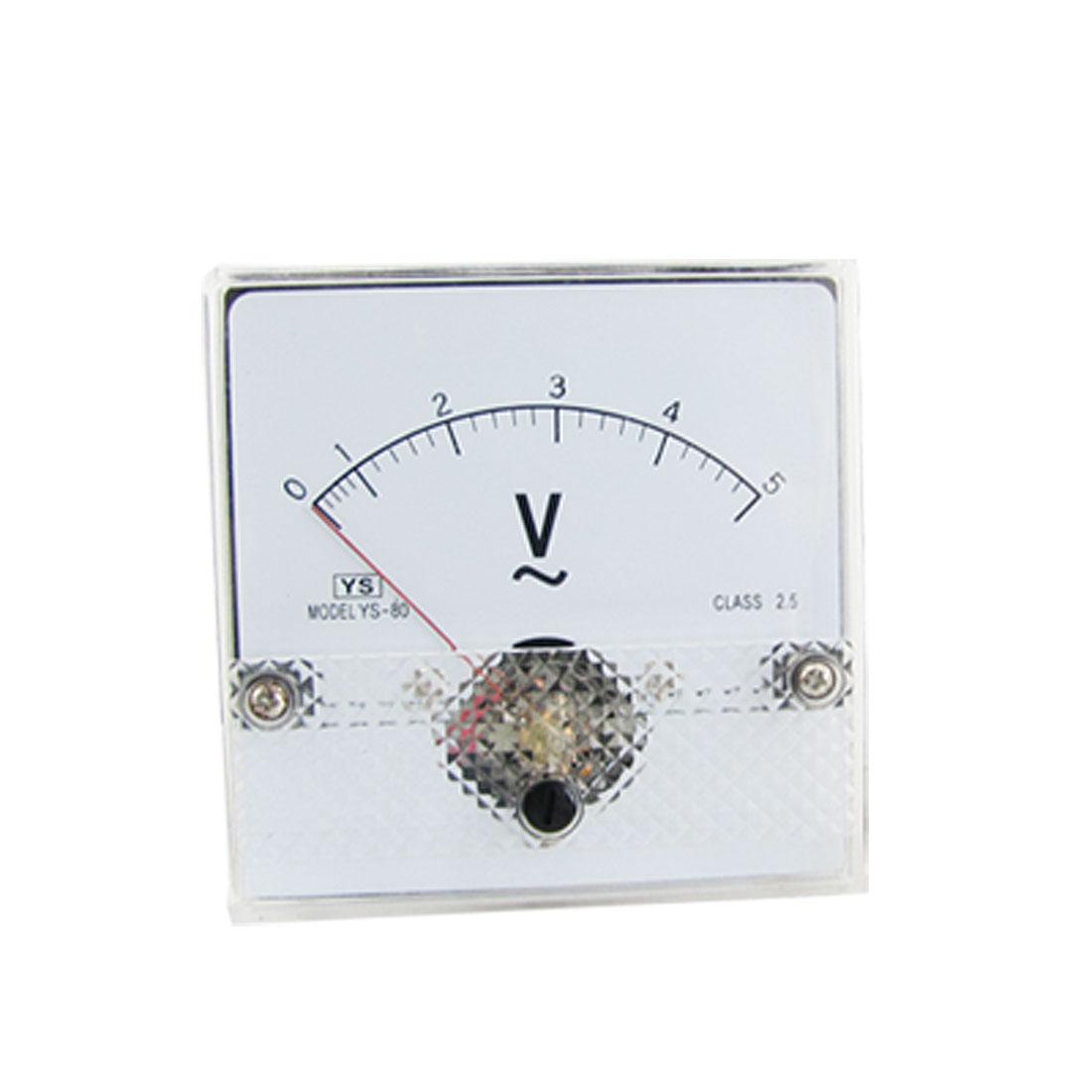 Fine Tuning Dial Analog Panel Meter Voltmeter AC 0-5V