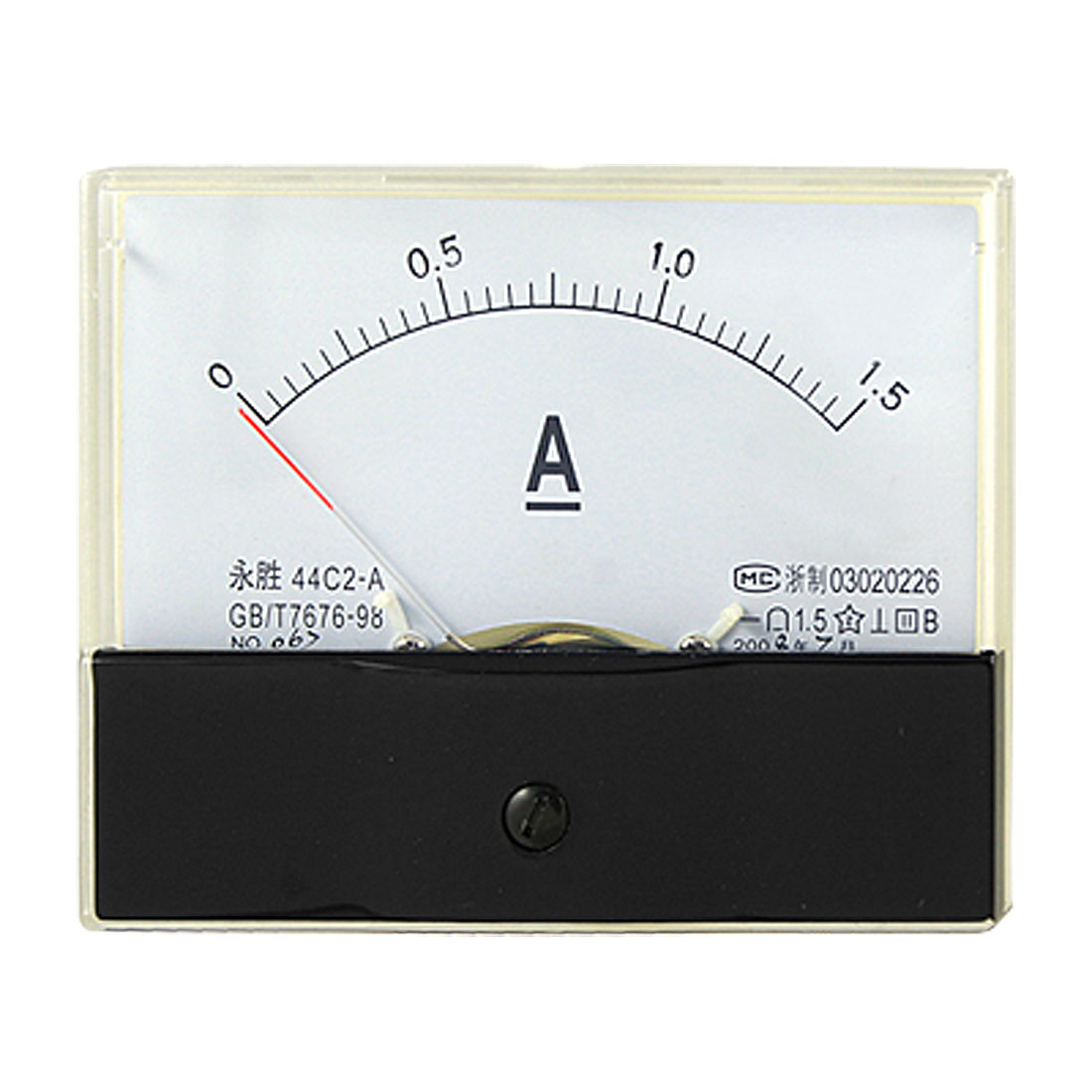 DC 0-1.5A Current Ammeter Analog Rectangle Panel Meter Gauge 44C2
