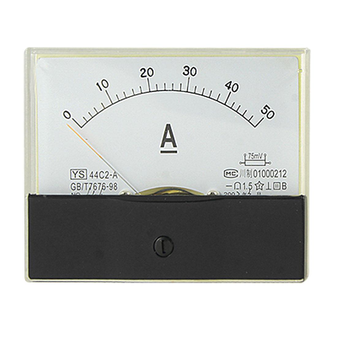 DC 0-50A Current Testing Rectangle Panel Meter Aperemeter Gauge