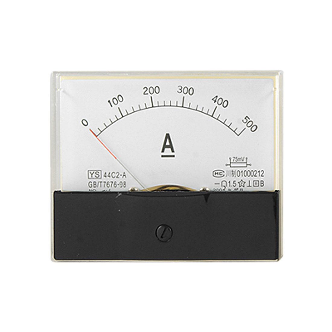 44C2 DC 0-500A Current Teasting Rectangle Panel Ampere Meter Analog Gauge