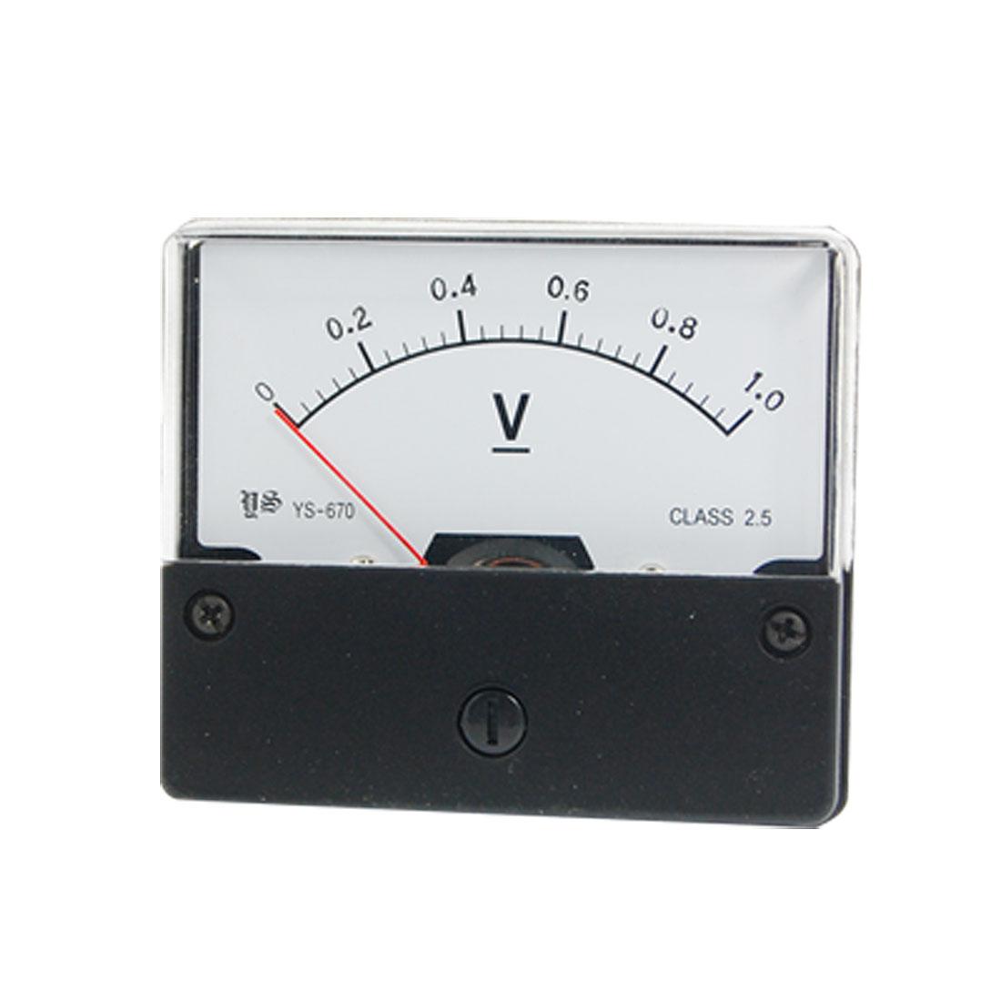 YS-670 DC 1V Rectangle Analog Volt Voltmeter Panel Meter Gauge