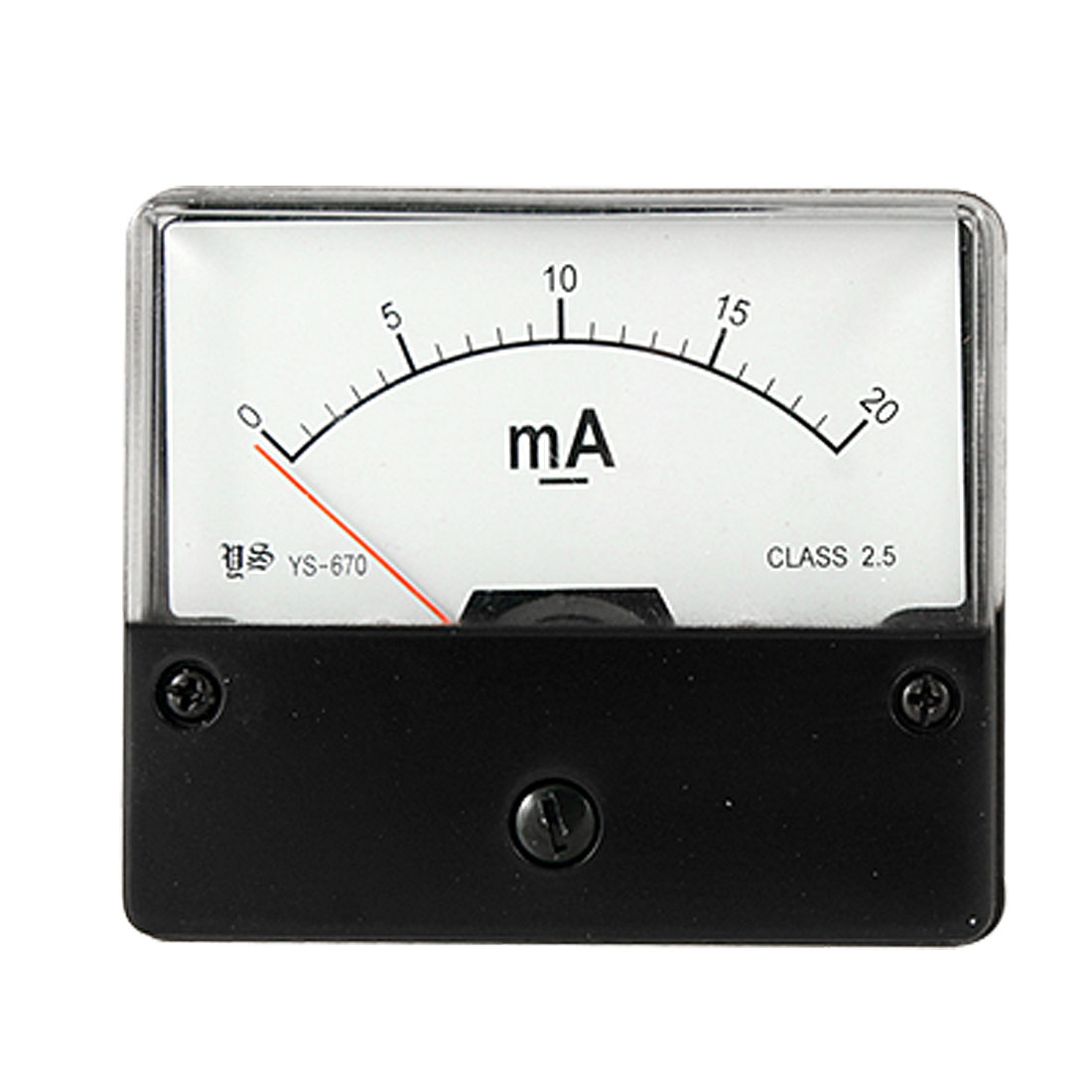 Rectangle Current Measuring Tool Class 2.5 Accuracy DC 20mA Analog Ammeter