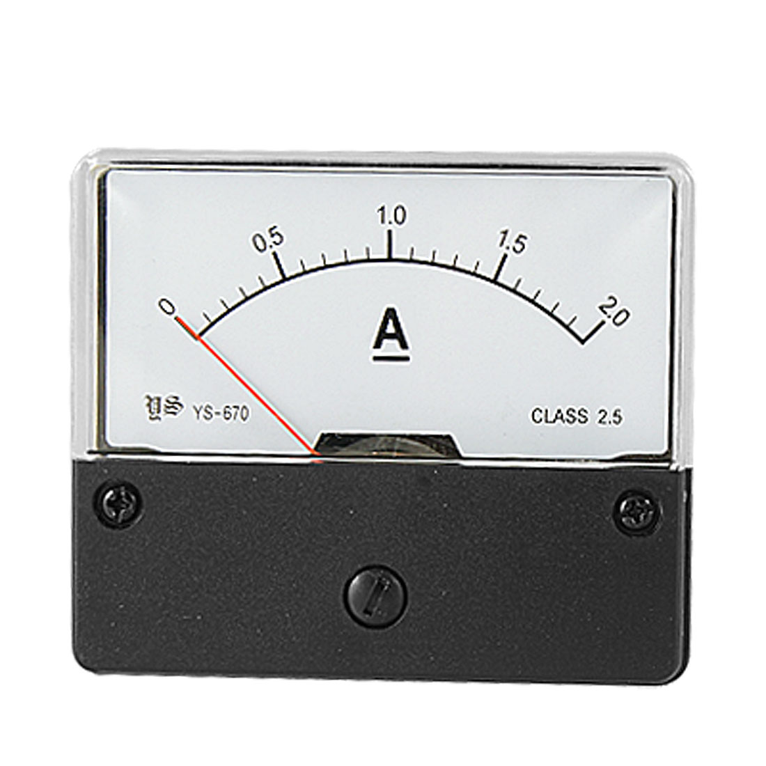 Rectangle Panel Meter DC 0-2.0A Current Range Ammeter w Fitting Part