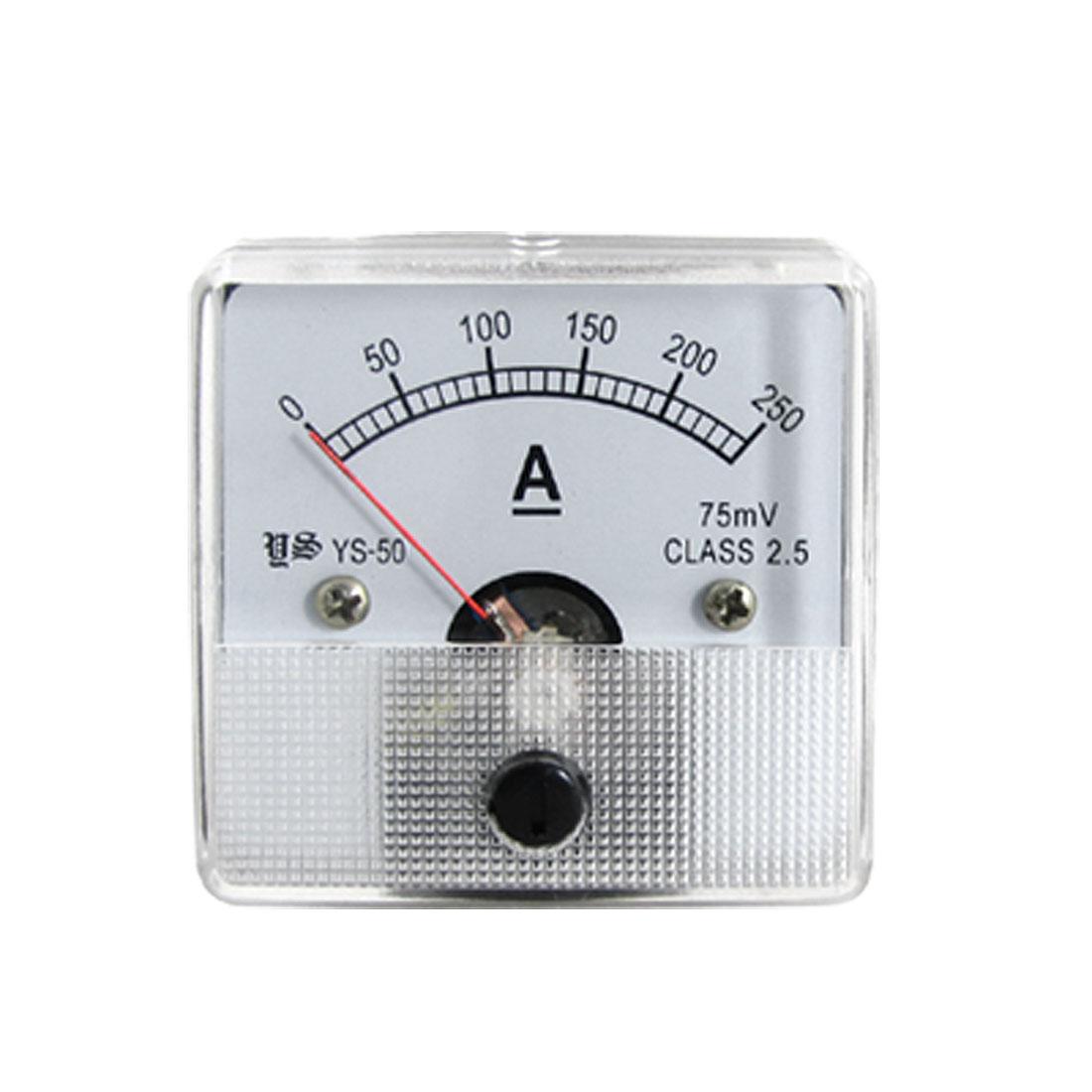 DC 0-250A Square Analog Current Panel Ammeter Gauge