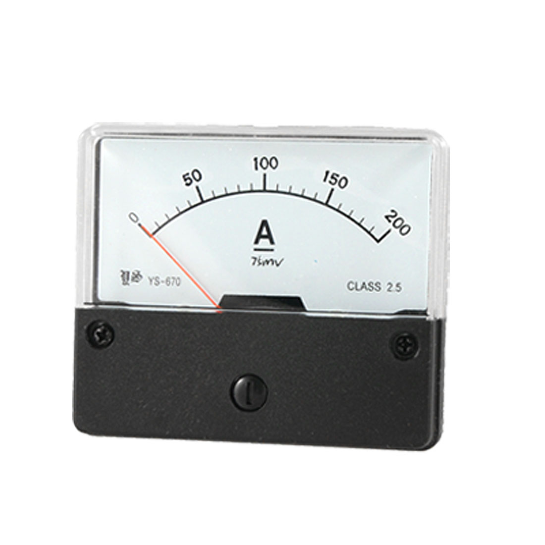 75mV Rated Voltage DC 0-200A Current Range Rectangle Amperemeter