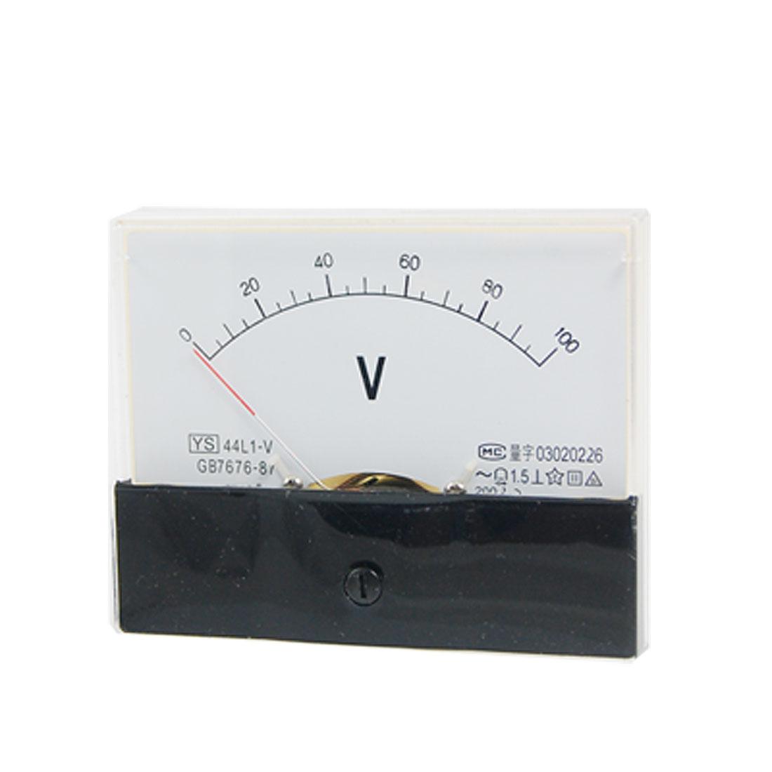44L1 AC 0-100V Rectangle Analog Volt Panel Meter Gauge
