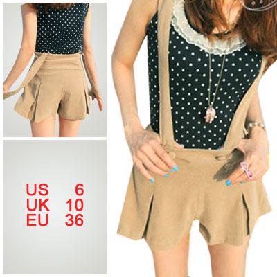 Ladies Removable Suspender Khaki High Waist Split Skirt S