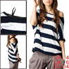 Lady Bat Sleeves Off Shoulder Dark Blue White Striped Shirt S