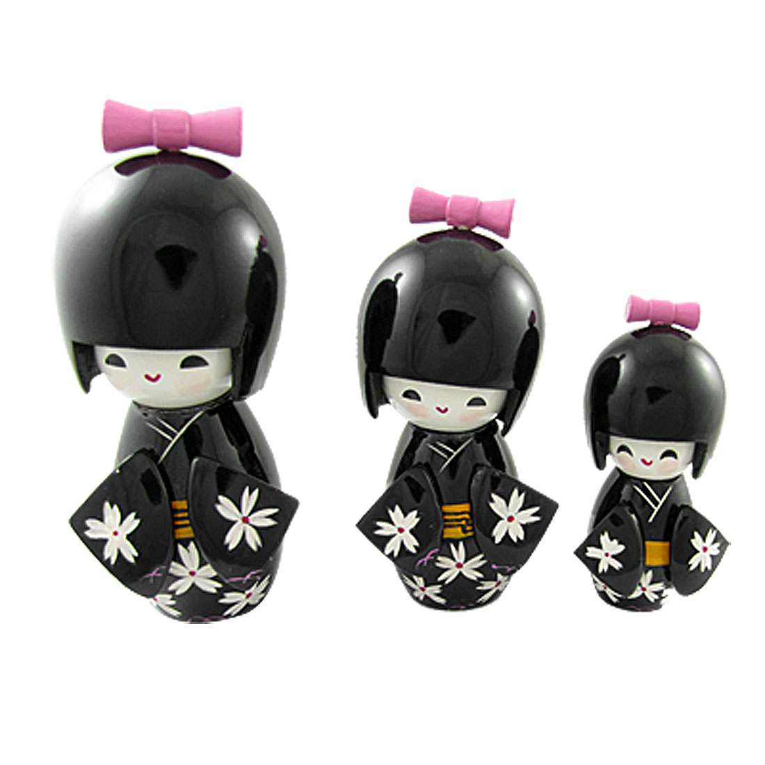 Home Office Desktop Black 3 Pcs Kimono Kokeshi Doll Ornament