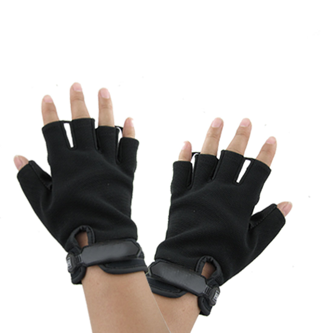 Man Loop Hook Closed Black Navy Blue Fingerless Gloves