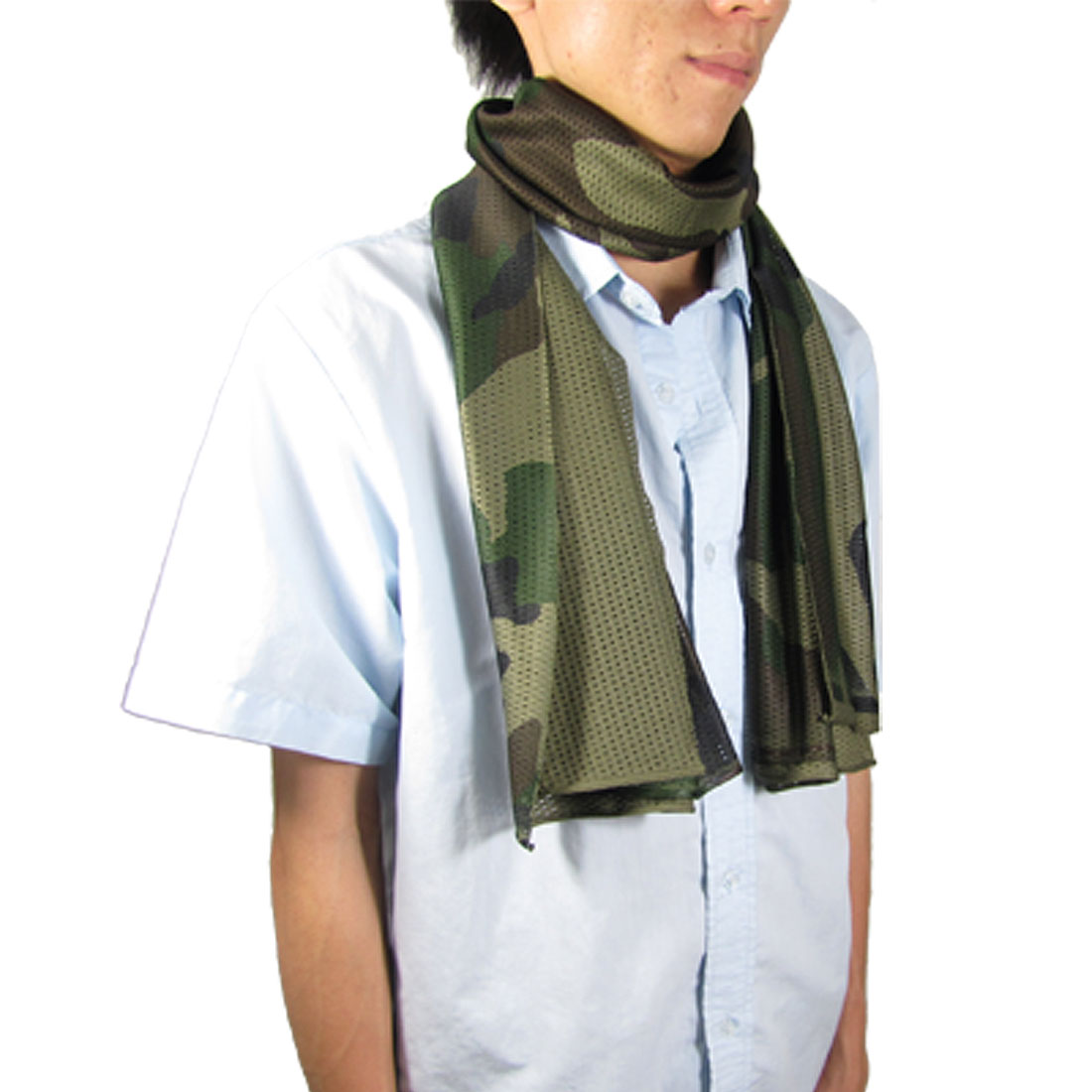Men Breathable Perforated Camouflage Pattern Rectangle Scarf for War Game