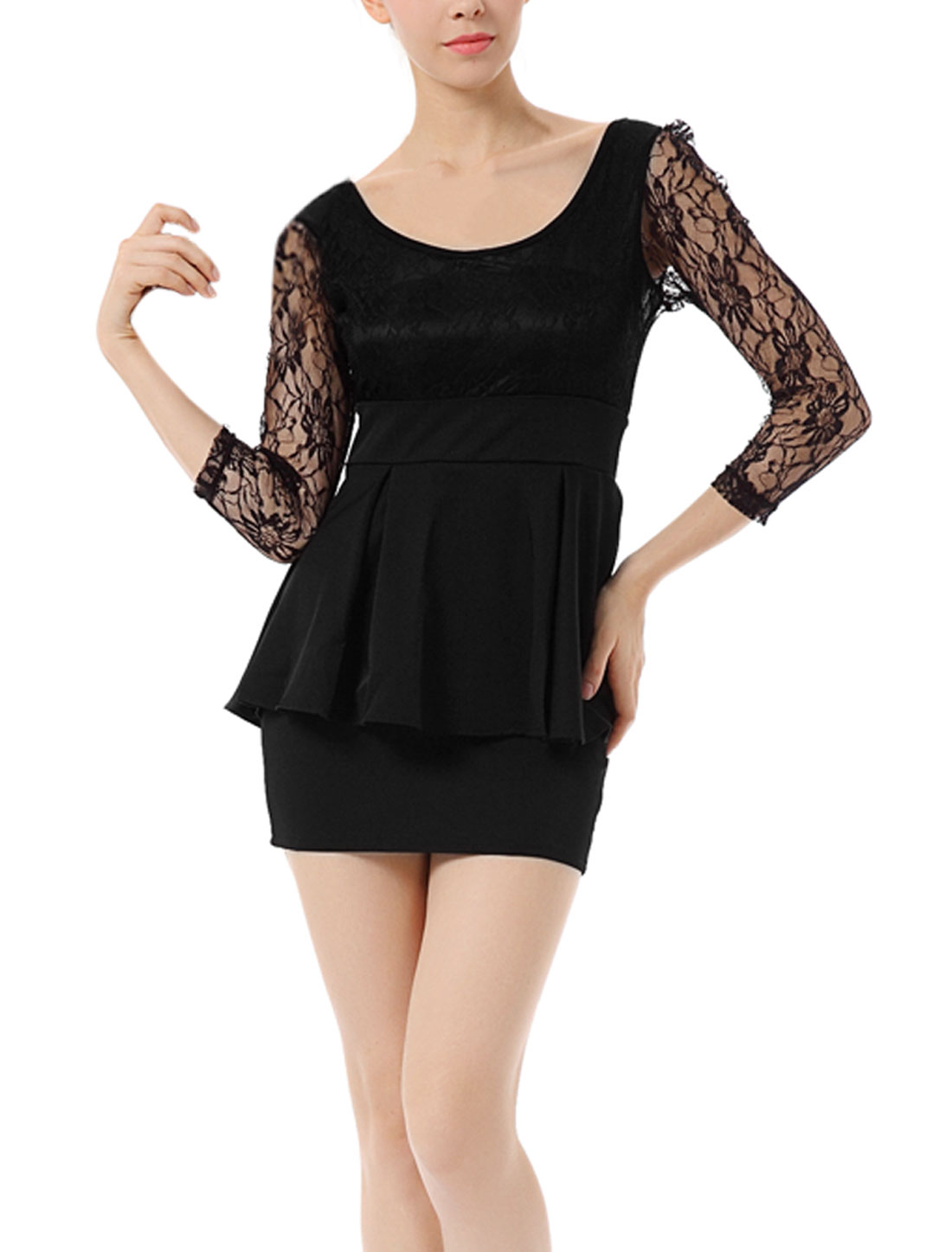 Ladies Sheer Lace Floral Bust Empire Waist Black Layers Dress S