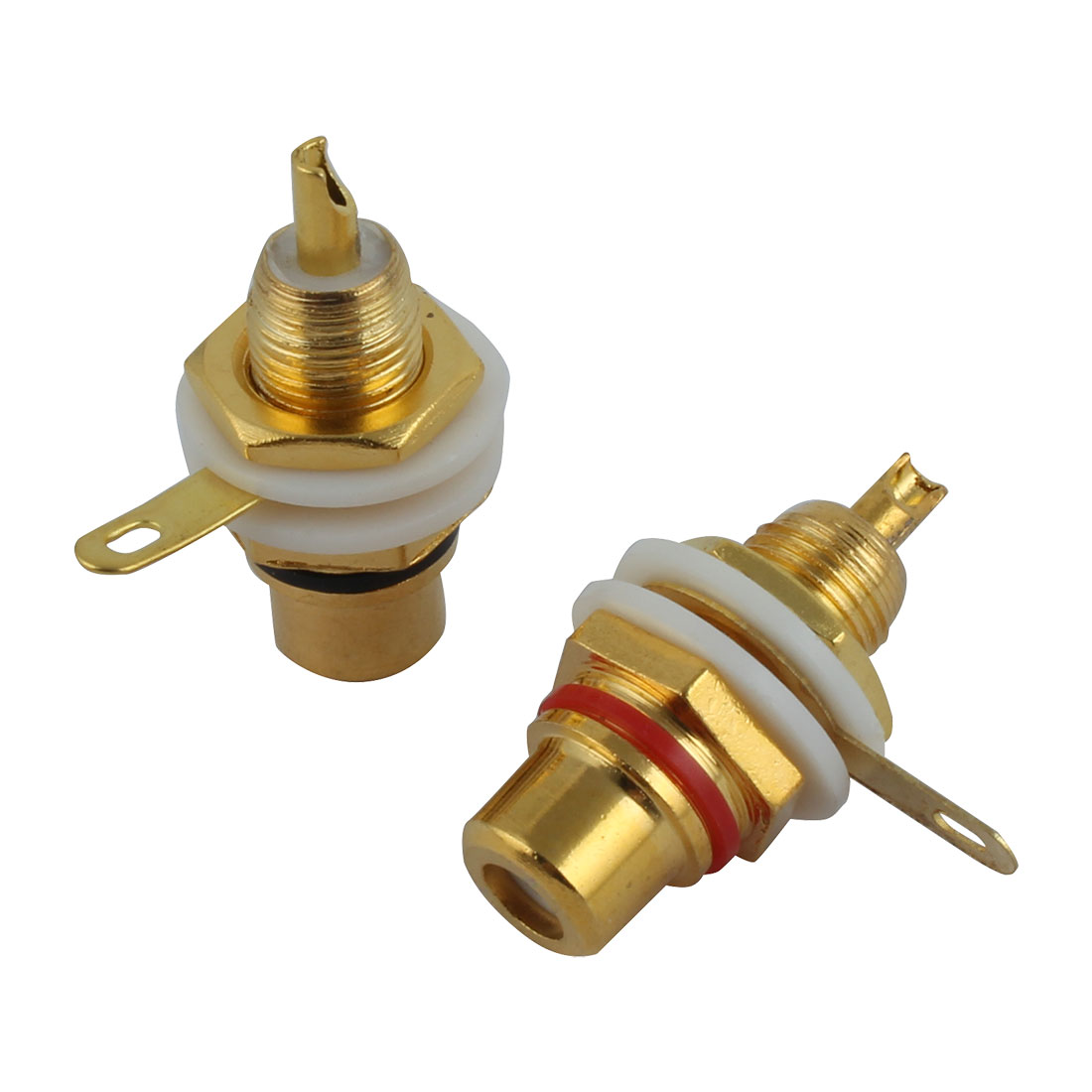 2 Pcs RCA Female Terminal Plug Speaker Cable Connector Gold Tone