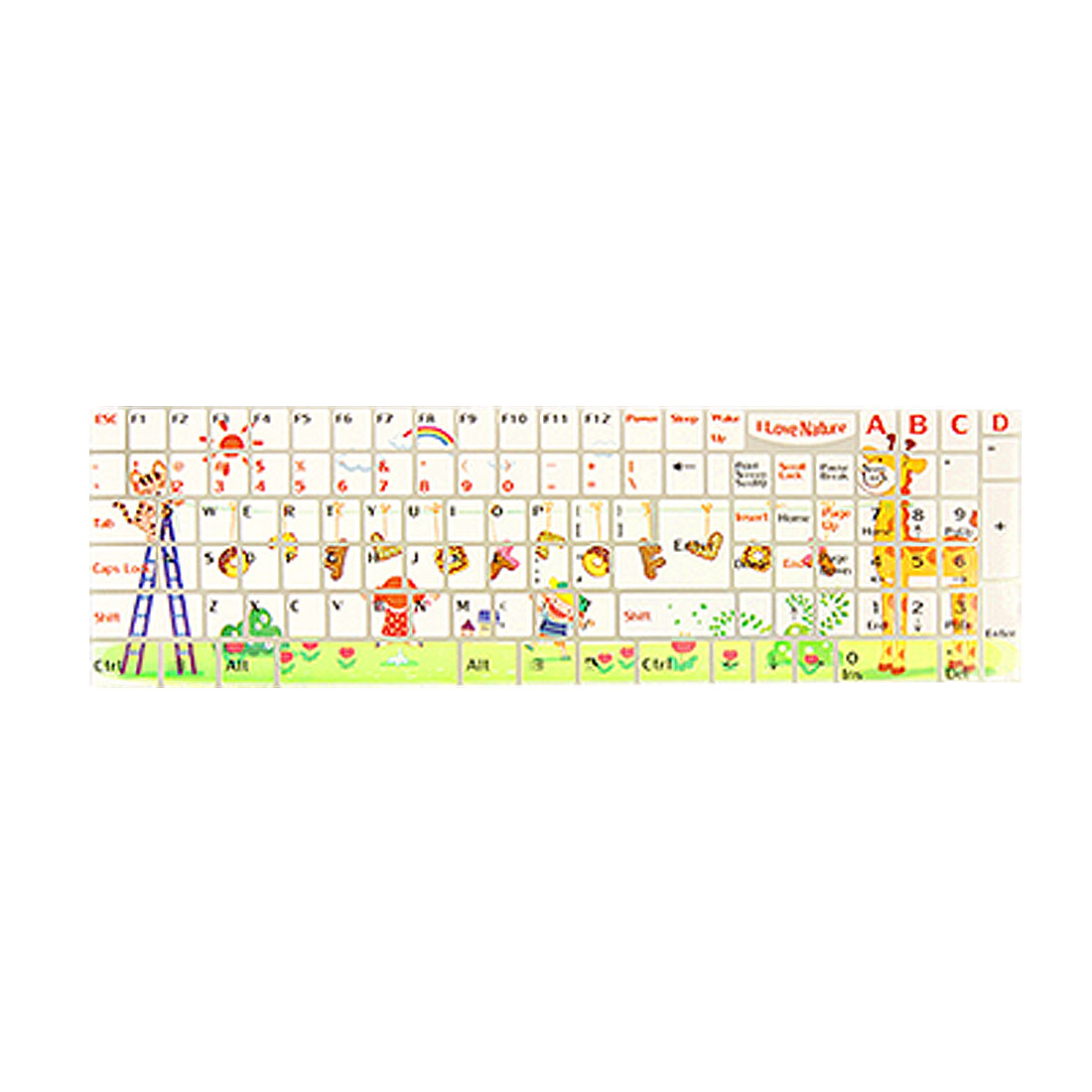 Notebook Keyboard Colorful Rainbow Cloud Sun Cartoon Print Sticker