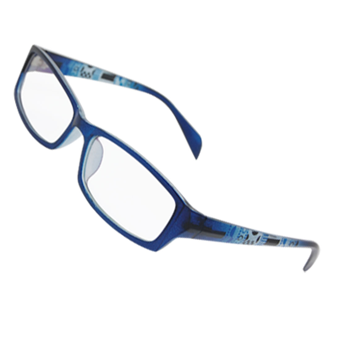 Rectangle Decor Arms Plastic Full Rim Multi Coated Lens Spectacles Blue for Lady