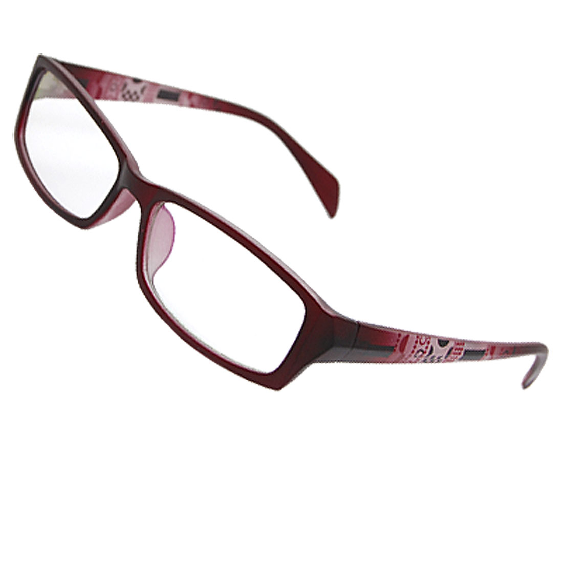 Ladies Maroon Dots Accent Arms Full Rim Multi Coated Lens Plano Glasses
