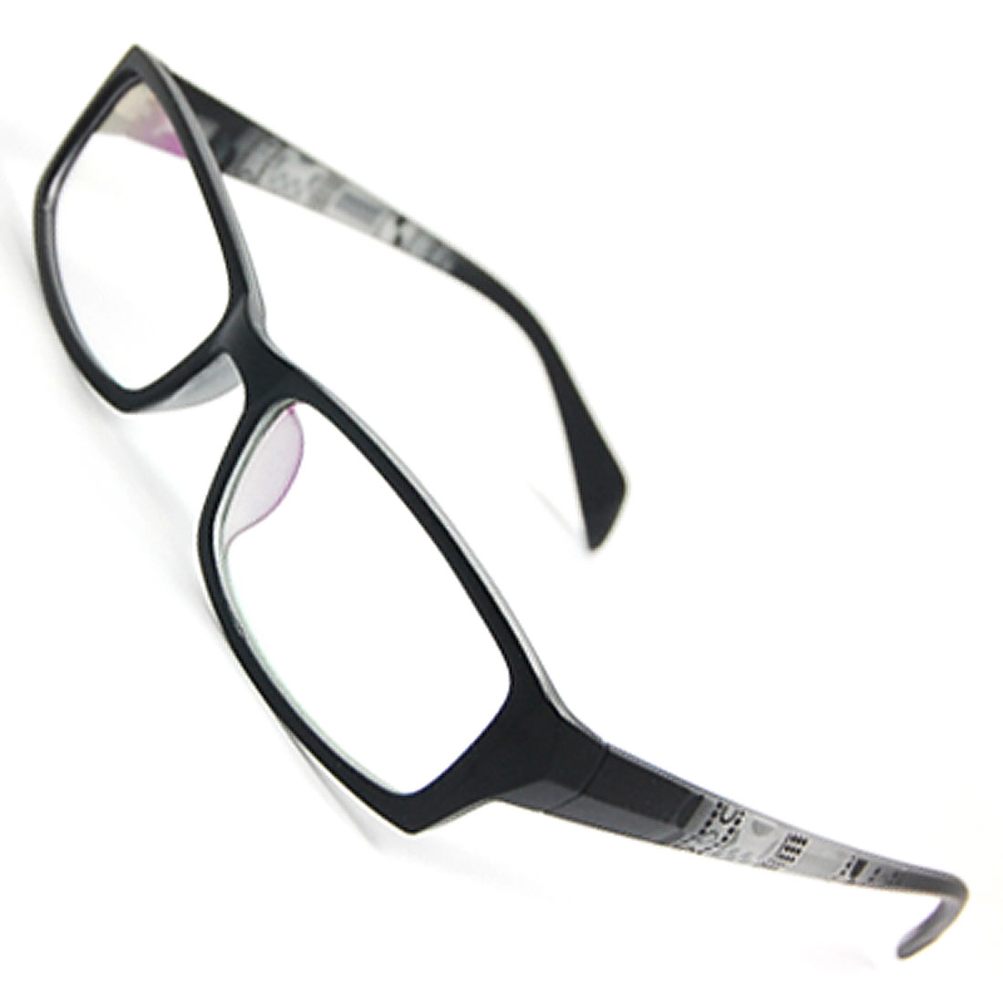 Women Black Plastic Slim Arms Full Rimmed Rectangle Multi Coated Lens Plain Glasses