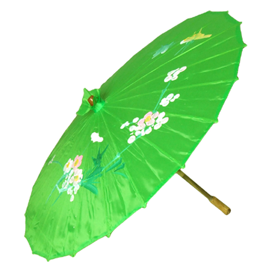 Nylon Bamboo Folding Dancing Parasol Green Umbrella