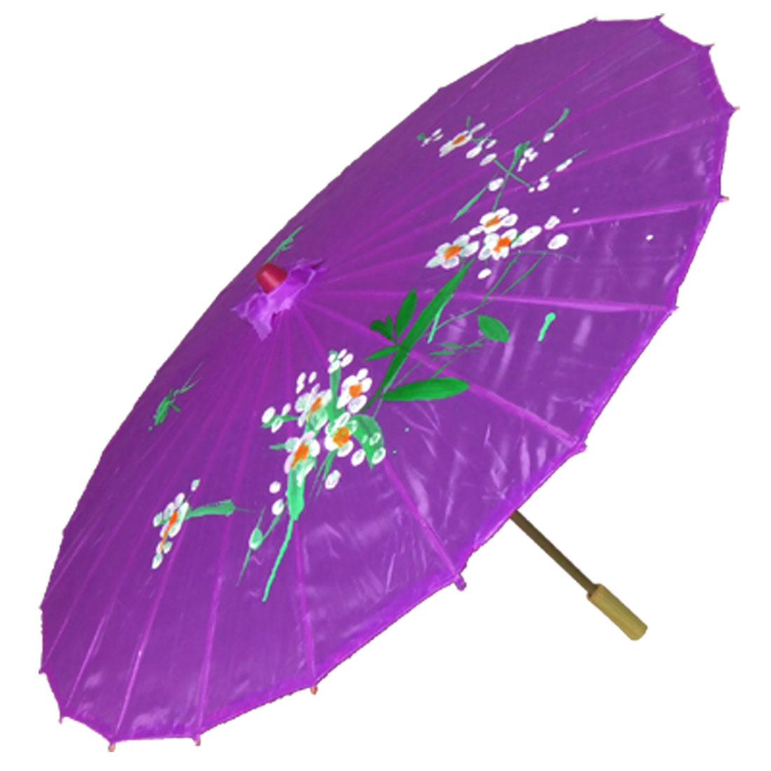 Flower Print Purple Semi Sheer Dancing Parasol Umbrella