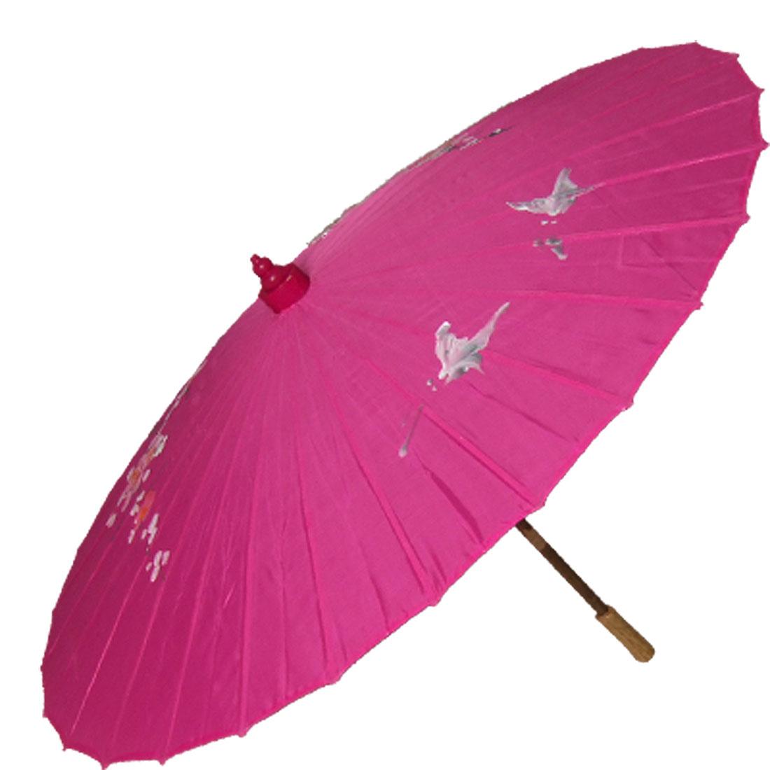 Plum Bloom Print Fuchsia Nylon Folding Parasol Umbrella