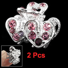 2 Pcs Glittery Rhinestone Accent Double Heart Shape Hair Claw for Lady