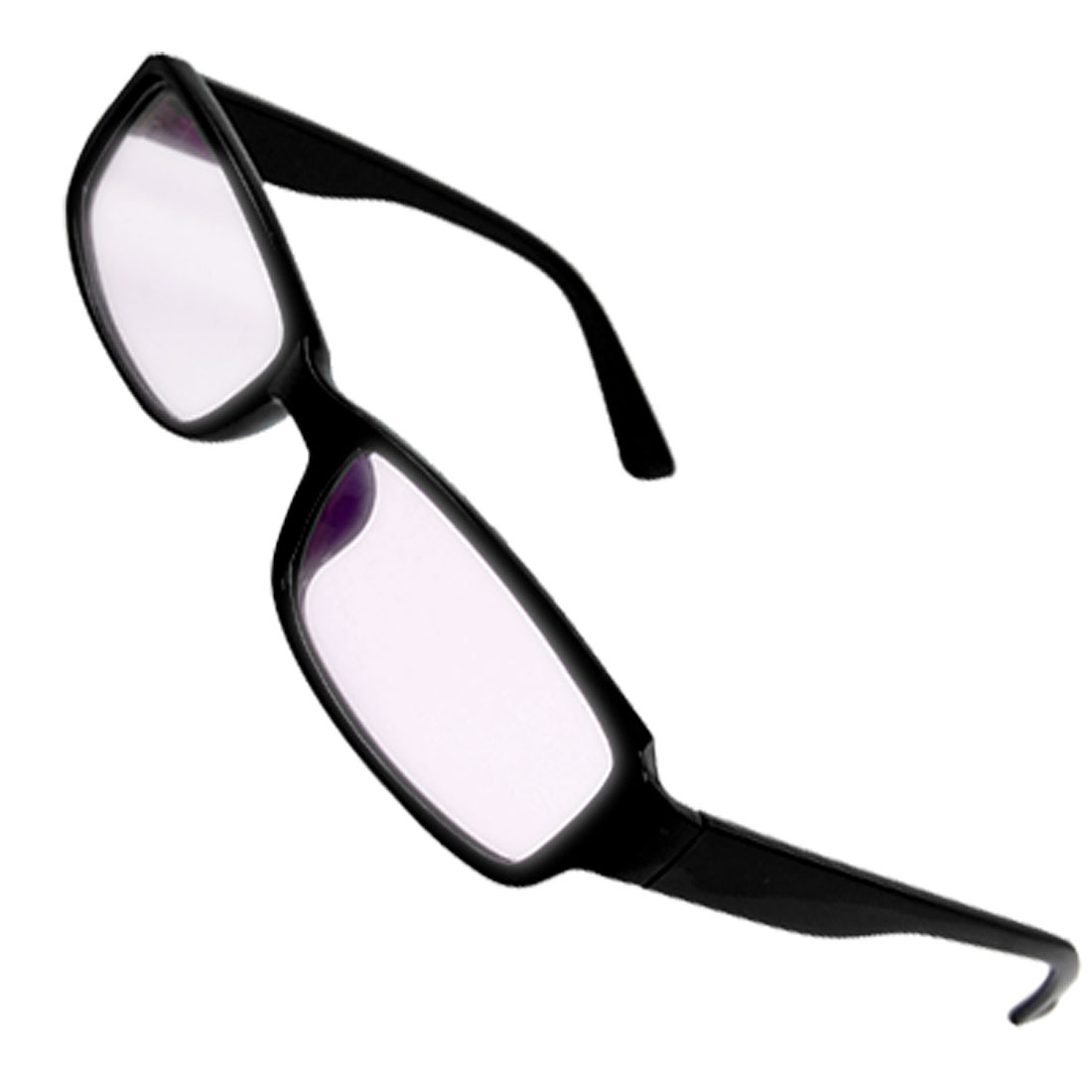 Black Plastic Full Rim Slim Arms Multi Coated Lens Plano Glasses for Lady