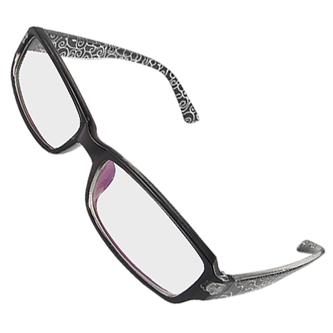 Lady Multi Coated Lens Black Full Rim Floral Arm Plain Glasses