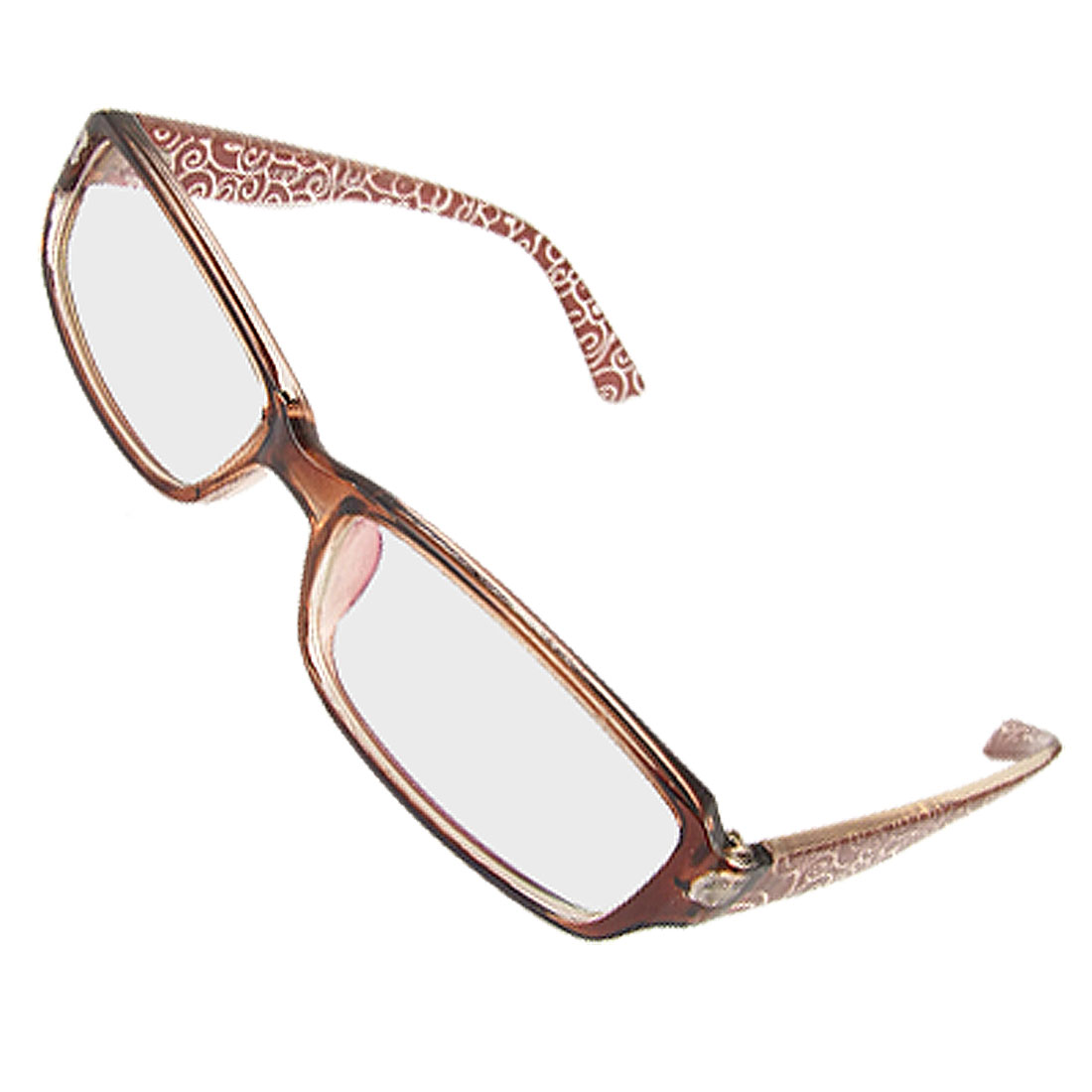 Lady Brown Full Frame Floral Arm MC Lens Plain Glasses