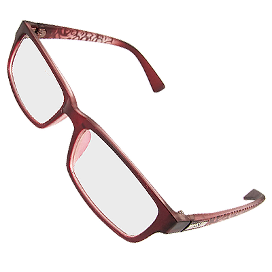 Multi Coated Lens Burgundy Rim Printed Arm Plain Glasses for Lady
