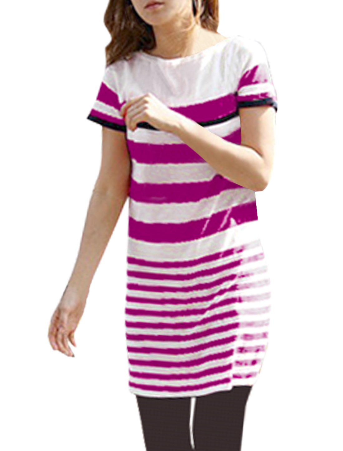 Woman Red White Bar Stripe Boat Neck Short Sleeve Knit Tunic Shirt S