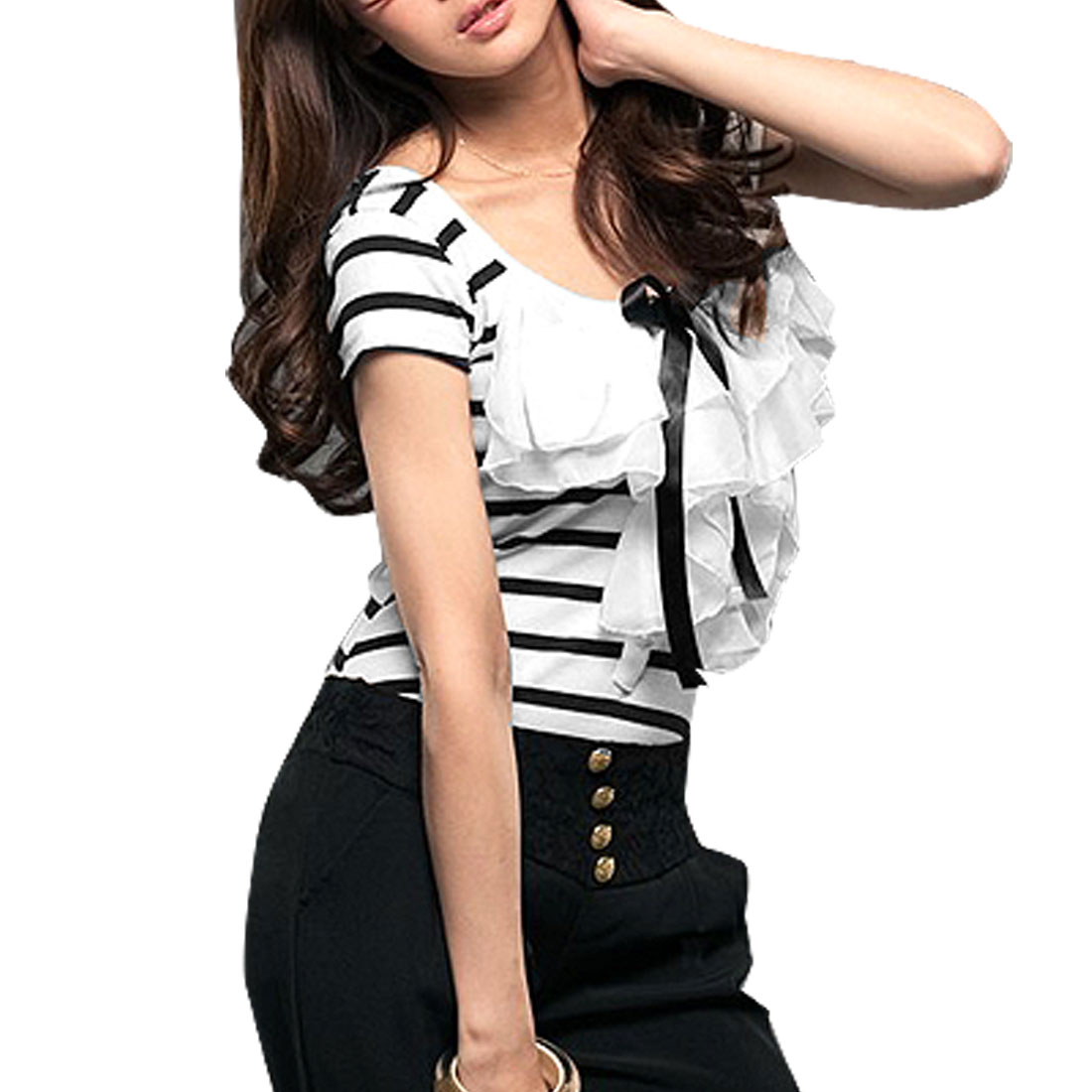 Lady Flouncing Scoop Neck Bar Striped Short Sleeve Shirt Top