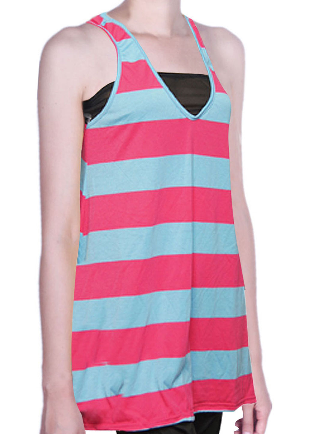 Lady Fuchsia Blue Striped A Line Racer Back Tank Top S