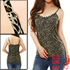Leopard Print Plastic Crystal Decor Tank Top XS for Ladies