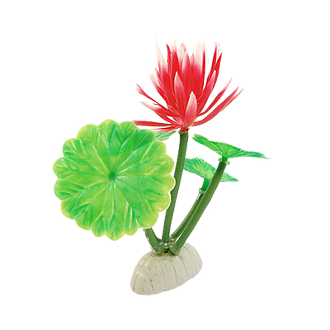 Red Floral Green Leaves Underwater Plants Ornament for Aquarium