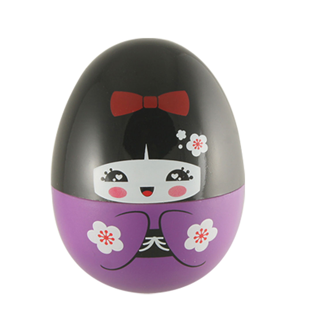 Egg Shape Purple Black Plastic Toothpick Dispenser Desk Ornament