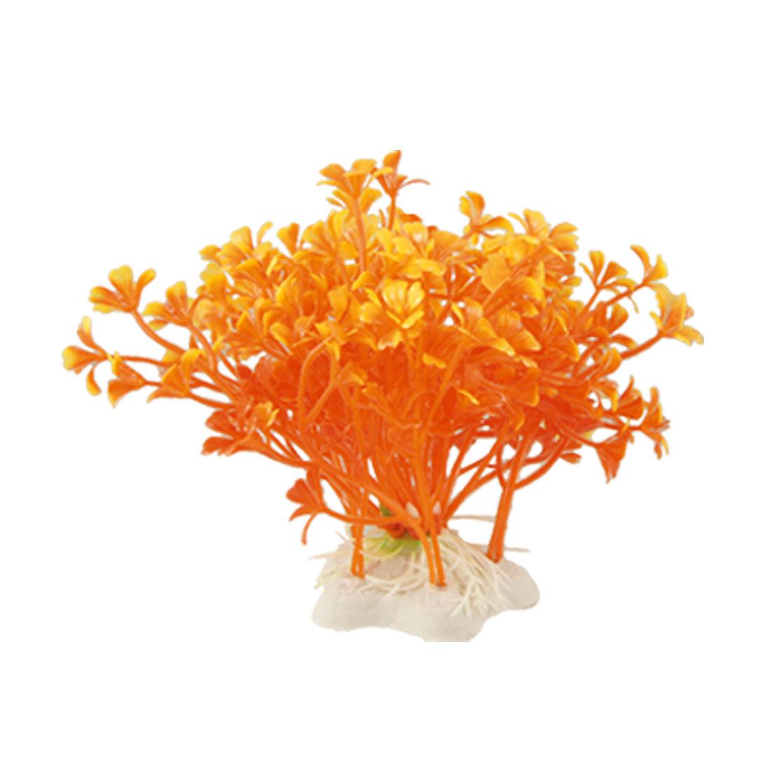 Aquarium Landscaping Orange Plastic Plants w Star Ceramic Base